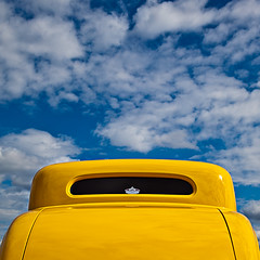 ... (Svein Nordrum) Tags: blue sky color ford window car yellow clouds canon square outdoors colours squareformat