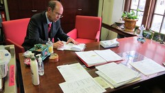 David Eisenhower takes a moment at Kathy's desk.