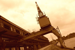 Lbeck Media Docks (photoArt) Tags: old sepia architecture germany harbor angle harbour storage cranes luebeck lbeck oldnew dockside mediadocks wallhalbinsel