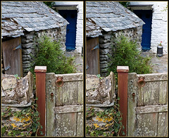 Balliolman_Cottage Gate_X (Balliolman) Tags: door blue wall 3d gate cornwall village post path cottage shed stereo excellent churn crossed whitewash kernow slates crantock penlyn