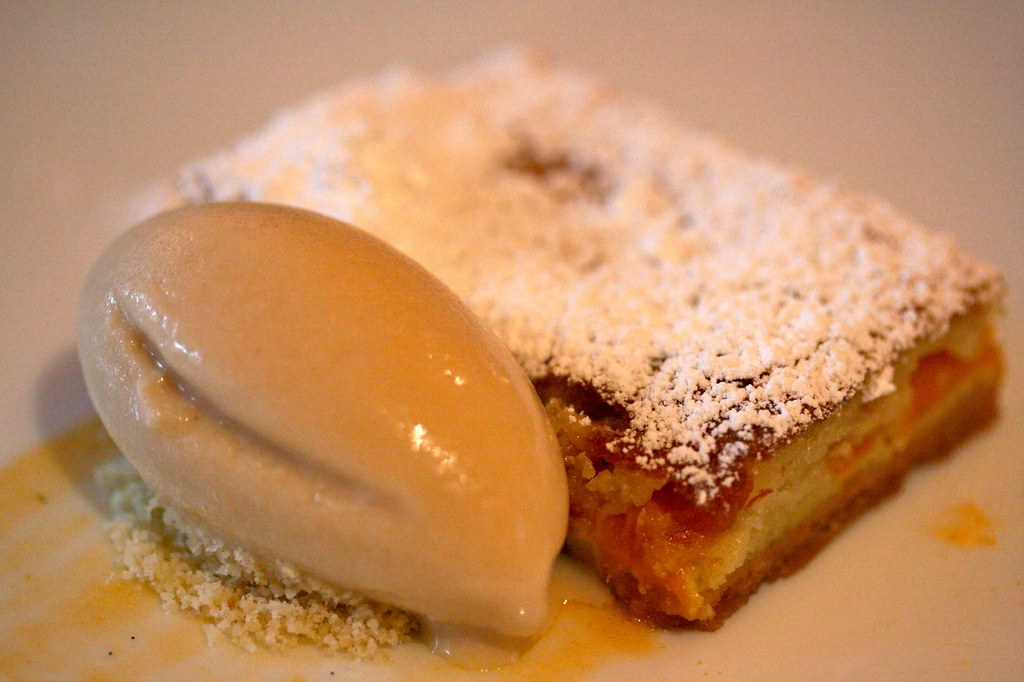Apricot Clafouti with Almond Honey Ice Cream