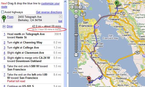 Gooogle Maps Routendauer