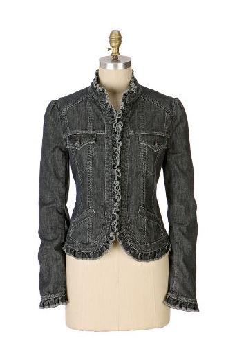 Anthropologie.com > Ruffled Denim Jacket :  jacket anthropologie pockets colder weather