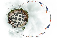 The human chessboard (gadl) Tags: panorama saintmartin waterfront tripod gimp projection human clones tiana clone chessboard 360 marigot stereographic hugin humain enblend guno frontdemer chiquier gadl mathmap stereographicprojection 303sph