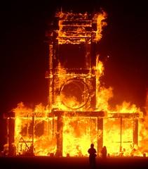 Temple of Forgiveness (In dust we trust) Tags: city black rock night fire lowlight flames playa burningman finepix fujifilm 2007 burnbabyburn 25faves s6000fd vividmaster
