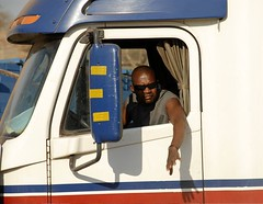 TRUCKING IN ZAMBIA (Claude  BARUTEL) Tags: africa portrait truck border transport zimbabwe driver zambia trucking customs