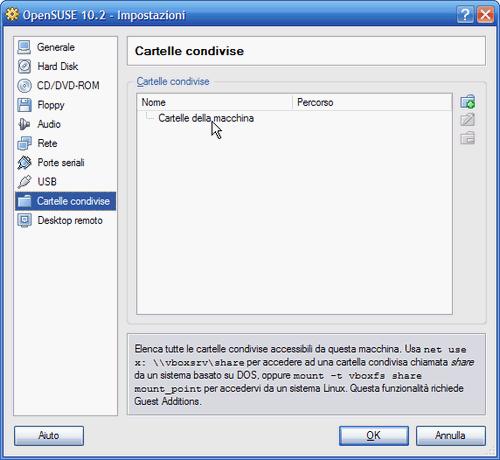 Fig. 4 - VirtualBox cartelle condivise - Impostazioni