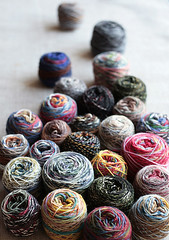 (namolio) Tags: wool socks ball stash knitting knit craft yarn leftover kaffe regia fassett articcolor
