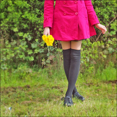Dandelions (Gareth Smith) Tags: wood pink trees flower girl grass yellow socks legs coat project365 canvasshoes olympuse600