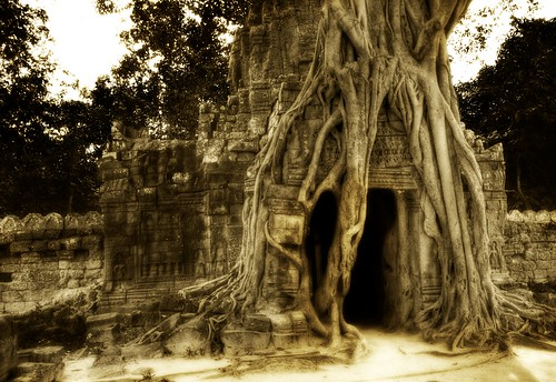 The Secret Cave, Enshrouded in Roots -- hdr light angkor roots cave cambodia wat crypt ratcliff siem work angkorwat