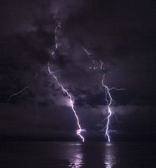 Lightning on the Columbia River - by phatman