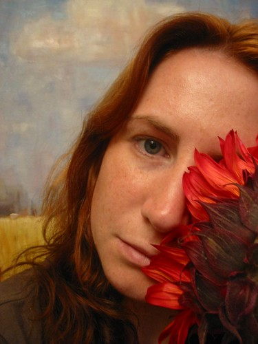 Hiding behind the sun -- selfportrait me home flower outtakes selfpic oilpainting hair joe's redhead sunflower freckles