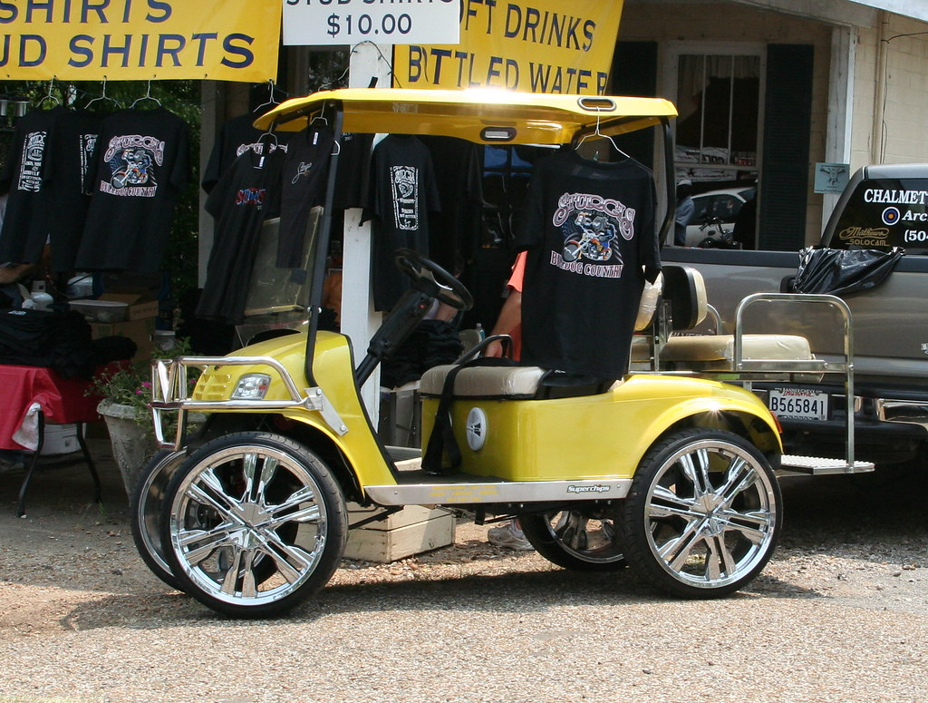 Chrome wheels on a golf cart!