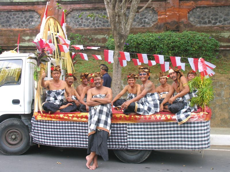 Balinese men awaiting Indonesian Independence Day celebrations