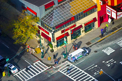 "isometric ""illustration"" of a New York City corner"