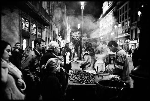 (d. . .) street bw night sevilla andaluca spain candid seville chestnuts 35l