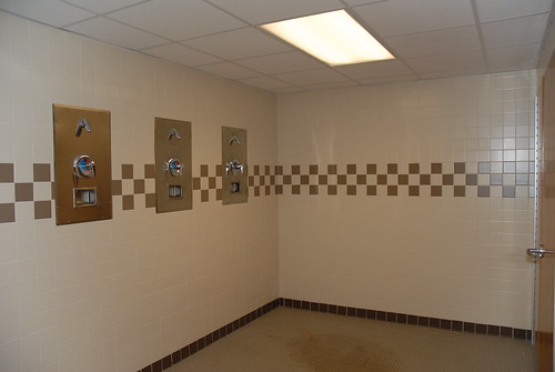 The shower area of the locker rooms