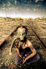 happy mother's day. (ry-o-vision) Tags: railroad fashion apocalypse tracks gasmask trainyard creepykid postapocalypse ryandavisphotography dilapidatedness jcpennyssummercatalog