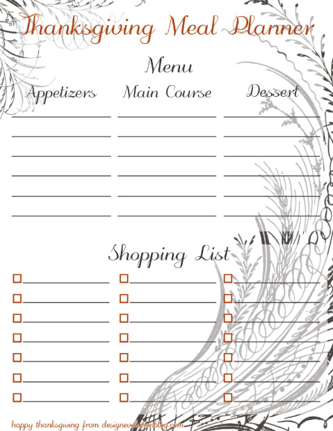thanksgiving meal planner free download
