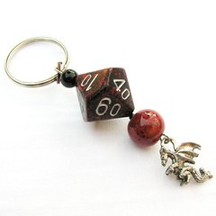 Fire Dragon - Dice Keychain in Red and Black