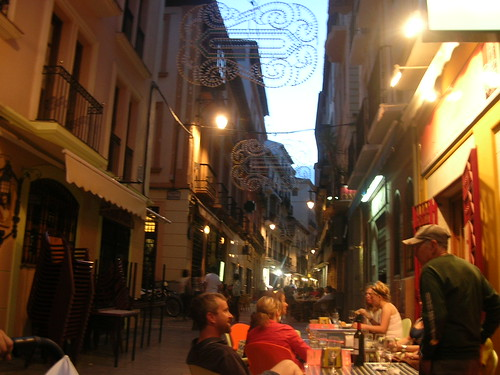 Beautiful little European street where we ate tapas (Photo by Adam Solomon)
