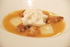 Sope de Mantequilla noisette con sesos de conejo