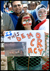 Is This Democracy in Color (danny.hammontree) Tags: lebanon usa color israel washingtondc washington districtofcolumbia nikon war peace unitedstates iran palestine georgewbush georgebush unitedstatesofamerica politics iraq whitehouse rally religion protest d2x middleeast hijab photojournalism august antiwar violence jew jewish zionism judaism antibush nikkor beirut deviantart israeli activist violent  palestinian occupation marches rallies coexist hammontree digitalgrace nikond2x peacemovement dannyhammontree wwwdigitalgracecom warsucks  freelebanon     20060812  anawesomeshot bestofpalestinegroup