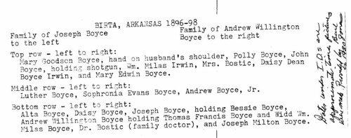 Families of Joseph and AW Boyce listed