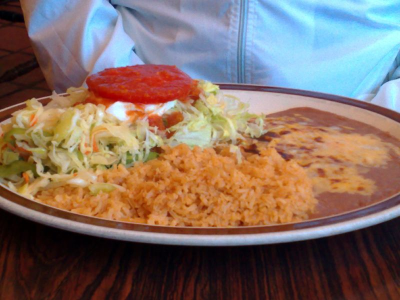 Tostada and Chile Relleno combination