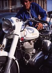 Royal Enfield, Fells Point, Baltimore (artandscience) Tags: leica voigtlander baltimore motorcycle m2 fellspoint royalenfield provia100