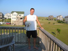 On vacation with my little doggies (garyhymes) Tags: ocean sun house beach dogs me pose dunes dune deck bichonfrise outerbanks underarmour uarm