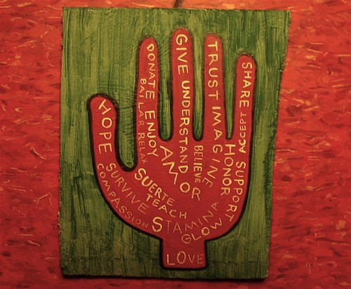 Painted Hand #46 on Recycled Wood - Hope, Survive, Trust, Love