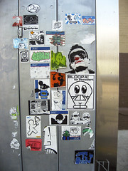 (shoehorn99) Tags: nyc streetart graffiti sticker stray ras plasmaslug laali bloopa melvind mimitheclown