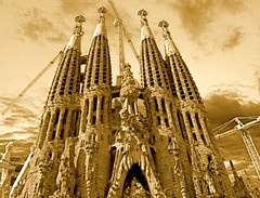 Sagrada Familia. Barcelona.- (ancama_99(toni)) Tags: street leica old city trip travel vacation sky urban espaa house holiday color building art church yellow familia sepia architecture clouds photoshop buildings geotagged temple lumix photography photo interestingness interesting spain espanha europa europe cityscape cross cathedral photos religion cityscapes modernism photographic catalonia panasonic explore artnouveau gaudi temples gaud catalunya sagradafamilia espagne sagrada modernismo templo catalua modernisme pasoscatalans urbanas urbanscapes antonigaud catalogne sacredfamily 50faves 100favs outstandingshots 35faves fz7 dmcfz7 25faves aplusphoto superhearts ancama99 interesantsimo theperfectphotographer