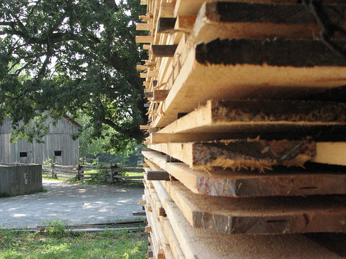 Stacked hardwood lumber drying