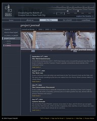 Project Rebirth: Screen 8 of 11: The Film: Project Journal / 2004 / IconNicholson (See-ming Lee (SML)) Tags: life nyc blue people usa inspiration art history film 2004 project movie death design graphicdesign timelapse video interesting technology humanity web flash worldtradecenter 911 journal documentary engineering webdesign website timeline donation awards rebirth interactive colorblue groundzero interactiondesign informationdesign rebuild nonprofit fp7 sml as2 paulwood timmurtaugh seeminglee iconnicholson adobeflash actionscript20 robertfisher claudiachow smldesign smlinteractiondesign larryburks smlawards smlprojects smlpeople 李思明 lbiinternational smltechnology smlwebdesign flashplayer7 projectrebirth projectrebirthorg mileskafka katharineenglish lesliefreeman