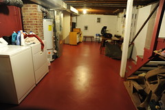 Freshly painted basement floor, clean clothes,...