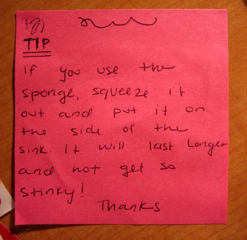TIP: If you use the sponge, squeeze it out and put it on the side of the sink. It will last longer and not get stinky! Thanks