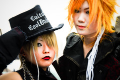 Harajuku couple (manganite) Tags: girls portrait people cute men topf25 face hat fashion japan digital dark hair geotagged asian japanese tokyo costume interestingness clothing high cool topf50 nikon focus key asia soft cosplay tl gothic young makeup teens posing style guys explore harajuku blonde fancy teenager  nippon  d200 nikkor dslr gals effect nihon kanto orton stylish japanesegirl  10faves interestingness401 i500 18200mmf3556 utatafeature manganite nikonstunninggallery ipernity geo:lat=35669859 geo:lon=139702379 date:year=2006 date:month=september date:day=17