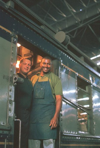 Mr. Miller (on the right) and colleague, Railway Mail Service on the B&O, St. Louis, Missouri, August, 1966