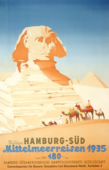 Hamburg to the South 1935 Vintage Travel Poster
