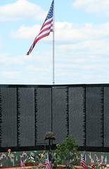 Memorial Wall With Flag (Tele Photo) Tags: indiana colfax travelingmemorial inpatriotism