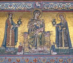 Our Lady nursing the Infant Jesus (Lawrence OP) Tags: rome infant mosaic basilica mary jesus mother virgin lamps breastfeeding virgins suckling stamariaintrastevere