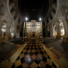 Jerusalem, Old City - Tomb of Jesus (Sam Rohn - 360 Photography) Tags: panorama church architecture night israel interesting ancient nikond70 availablelight palestine jerusalem columns christian fisheye christianity nikkor churchoftheholysepulchre stitched oldcity paix churchofholysepulchre alquds palestinian locationscouting hyperbolic stereographic locationscout flexify 105mmf28gfisheye tombofjesus tombofchrist samrohn stereographicprojection locationscouts nylocationscom
