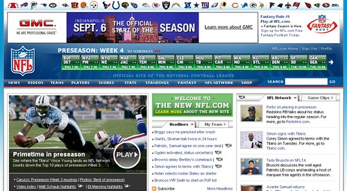 NFL.com Front Page Screenshot - 8/29/07