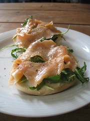 Plain bagel with smoked salmon, cream cheese and rocket