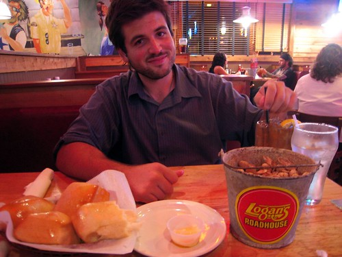 Husbear with Logan's peanuts and rolls