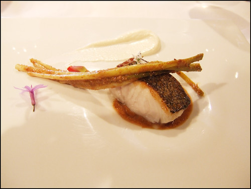 Mugaritz (Errenteria) - Hake Fillet with baby garlic and hazelnut praline
