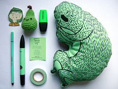 Mint Green Monster and Black with White Pois (juliette la bte) Tags: green monster toy handmade crafts mint brush pillow collection softies tape silkscreen scotch brooche amigurumi peer stabilo pantone cacahuete ankeweckmann