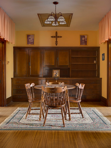 Saint Francis de Sales Oratory, in Saint Louis, Missouri, USA - convent, table by bedrooms